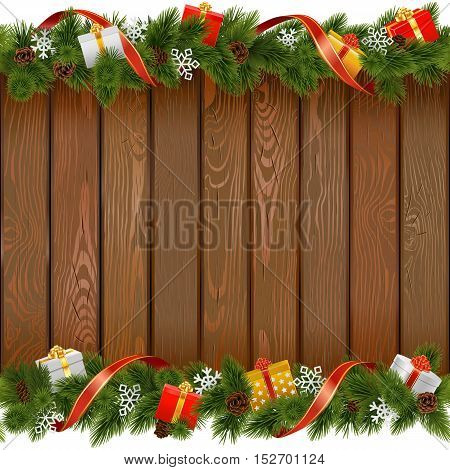 Vector Seamless Christmas Board with Gifts isolated on white background
