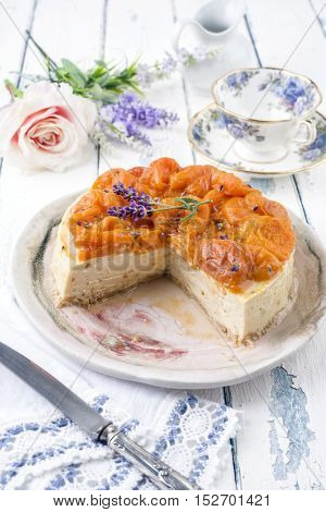 apricot Cheesecake on Plate