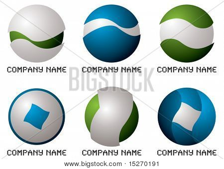 Illustrated collection of six company logos in green and blue