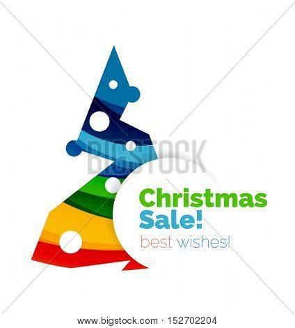 Christmas and New Year geometric paper design banner. Vector