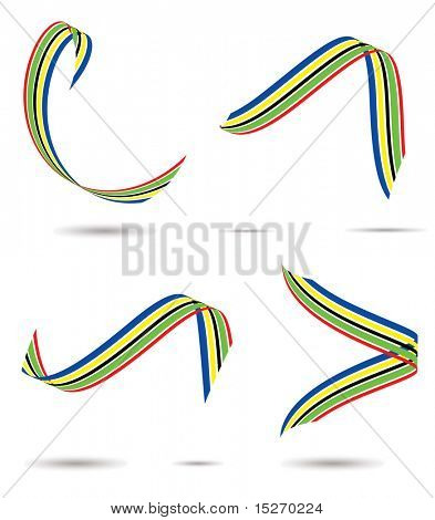 Collection of coloured ribbons with drop shadow