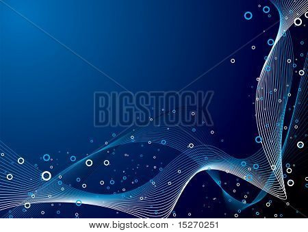 Abstract wave background in blue and black with a glow