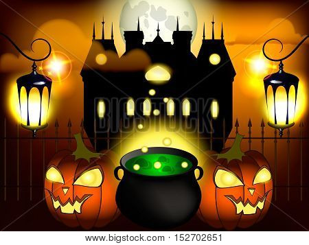 Halloween night background with pumpkin, haunted house and full moon.