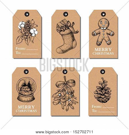 Christmas vintage gift tags set. Vector hand drawn illustration. Botany, holly, mistletoe, sock, pine cone, snow globe, gingerbread man cookie.  Perfect for xmas holiday greetings