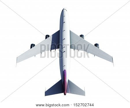 3d rendering of an airplane from above isolated on white