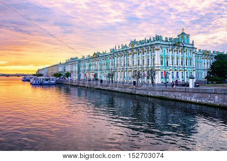 Winter Palace On Neva River, St Petersburg, Russia