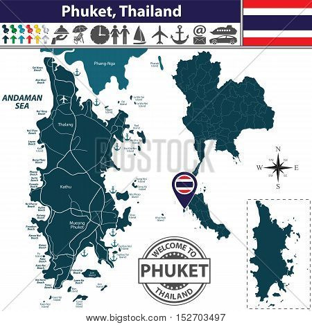 Map Of Phuket Province, Thailand