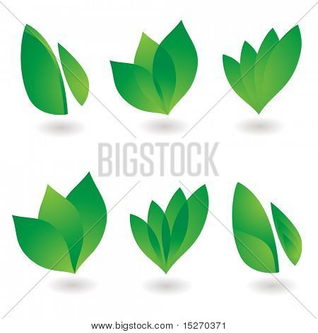 collection of six environmental leaf designs with shadow