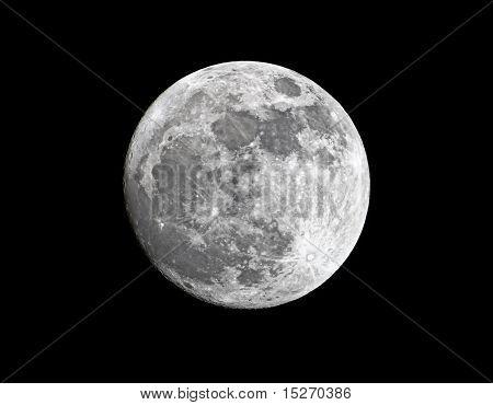 Primer plano de depilación Gibbous Luna Super, 98% del total, cerca de su perigeo, tomada el 18 de marzo de 2011