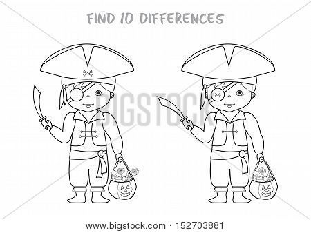 Halloween themed find all differences educational game for kids, Boy in pirates costume with pumpkin bag full of sweets. A4 format ready for print.