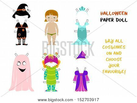 Halloween paper doll cartoon vector, Little girl body template and set of fancy costumes for carnival - witch, fairy, monster and ghost, mermaid. A4 format ready for print.