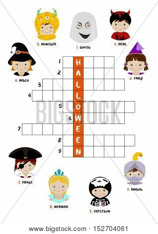 Halloween theme crossword puzzle for children with kids dressed in different costumes - witch, skeleton, ghost.A4 format, printable worksheet.