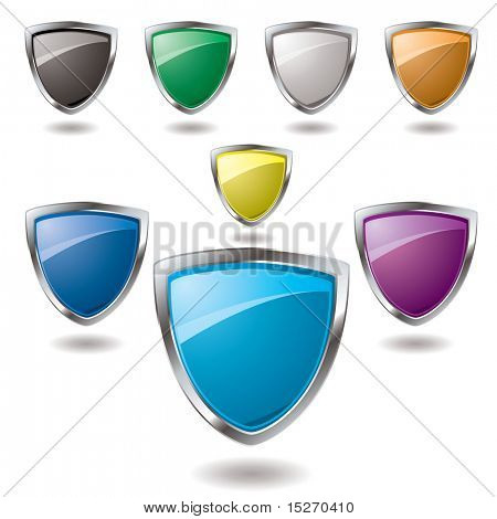 Collection of colorful shield in various colours that are blank