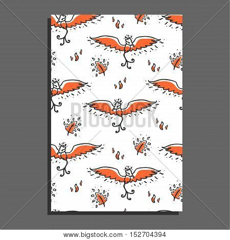 Greeting card with phoenix and feathers. Cute childish illustration. Background with cartoon fire bird and burning feathers