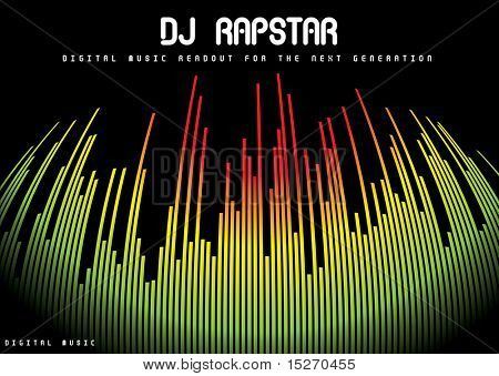 Abstract musical background showing a graphic equalizer in black
