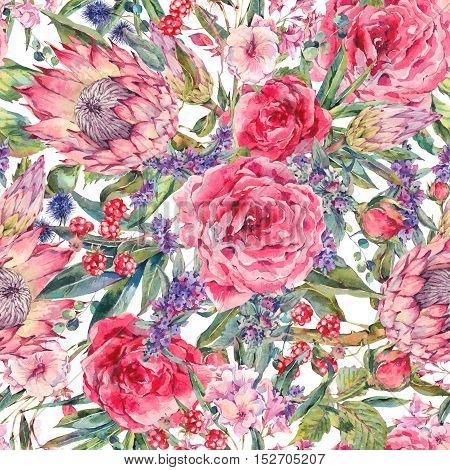 Classical vintage floral seamless pattern, watercolor bouquet of roses, protea, stachys, thistles, blackberries and wildflowers, botanical natural watercolor illustration on white background