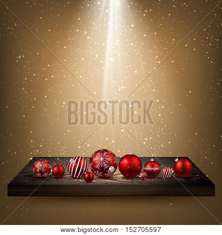 Beige background with Christmas balls on wooden shelf. Vector illustration.