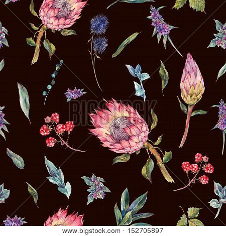 Classical vintage floral seamless pattern, watercolor bouquet of roses, protea, stachys, thistles, blackberries and wildflowers, botanical natural watercolor illustration on black background
