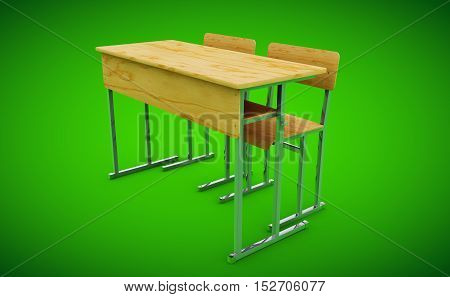 School desk and chairs front 3d render