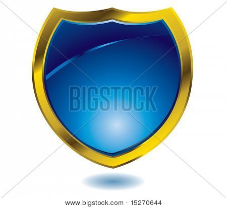 Heraldry illustration in blue with a gold bevel