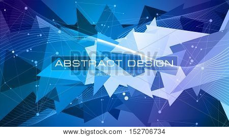 Blue and purple triangles, low polygon shapes, color mosaic, creative and technology background, vector design debris wallpaper