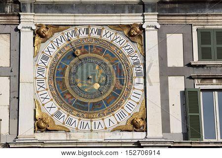 The ancient clock of Piazza della Loggia in Brescia - Italy