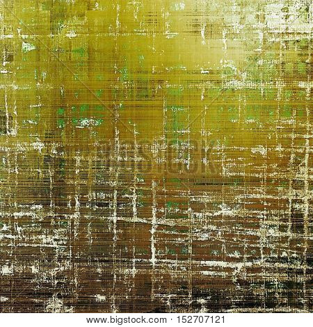Abstract vintage background with grunge effects, ragged elements, and different color patterns: yellow (beige); brown; gray; green; white