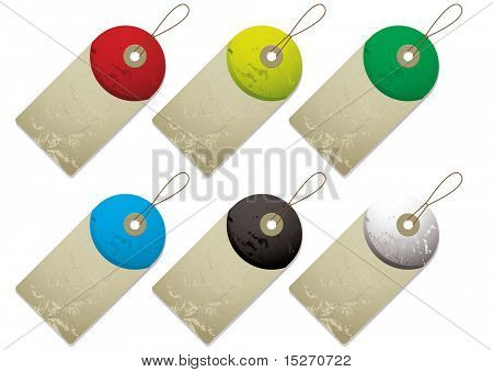 Collection of six tags with drop shadow and colour variation