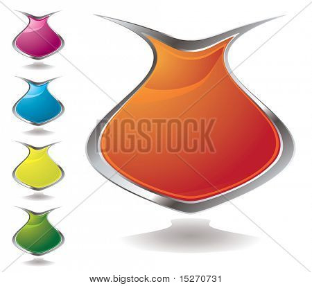 Set of five vase shaped shields in different colours