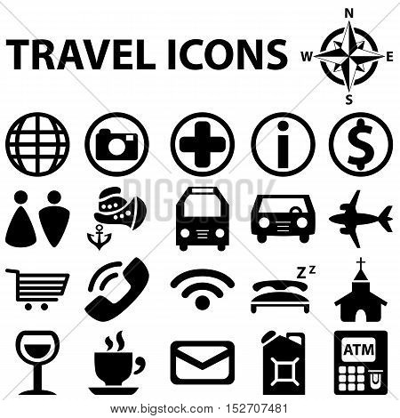 Vector of travel icons set on white background