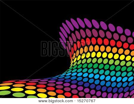ocean swell inspired rainbow background with copy space