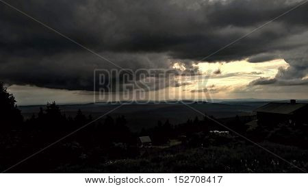 View from the mountain Klínovec before the storm in the Czech republic.
