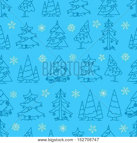 Winter forest seamless pattern. Merry Christmas and Happy New year