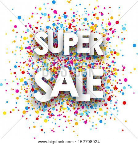 White super sale paper card with color drops. Vector illustration.