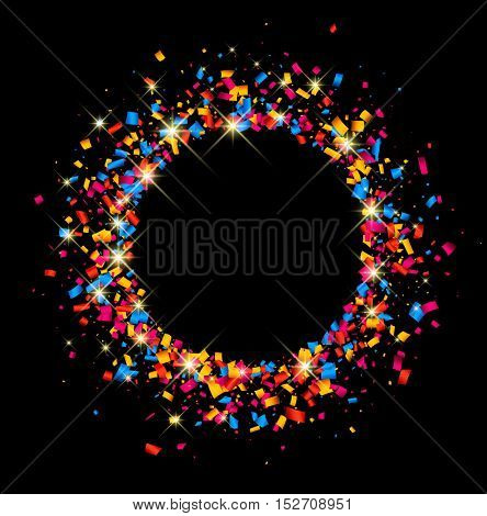 Black festive background with color confetti. Vector paper illustration.