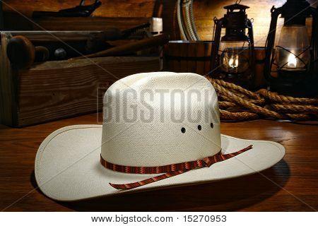 American West White Straw Cowboy Hat