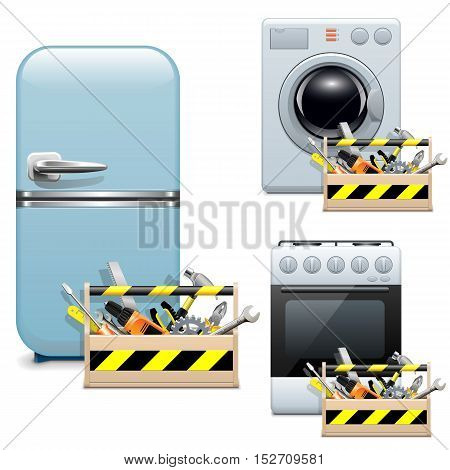 Vector Household Appliance Repair Icons isolated on white background