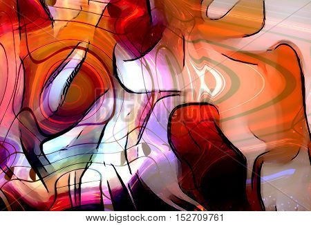 graphic design illustration of notes and note lines in circle structure, music concept. Fire effect