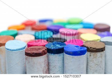 Colored Pastel Chalks Isolated On White Background
