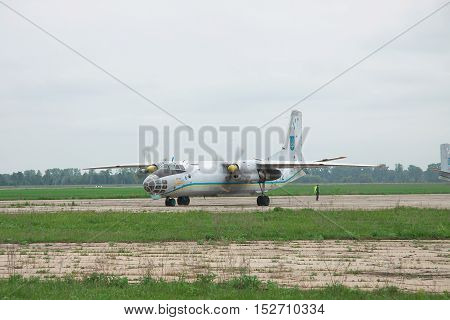 Nezhin Ukraine - May 20 2010: Antonov An-30 'Sky Photographer' reconnaissance plane used in the Open Skies program taxiing along the apron for a training flight