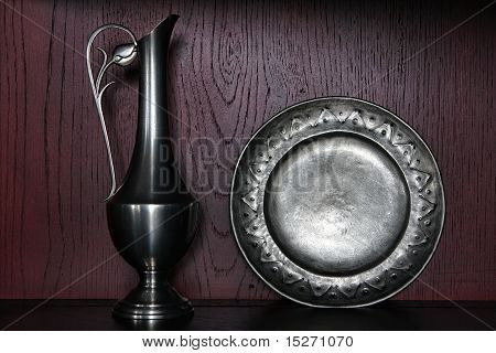 Antique Colonial Sivler Pitcher And Pewter Plate