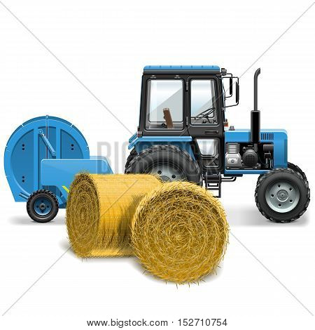 Vector Hay Baler Concept isolated on white background