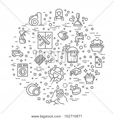 cleaning service line vector icon set. Housekeeping, mopping