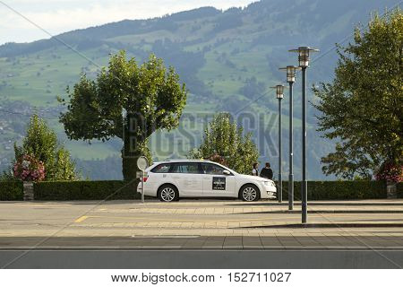 The taxi in Spiez, Switzerland on Sep 12, 2016. It is one of the most common transportation in Switzerland which allows you to travel between towns quickly.