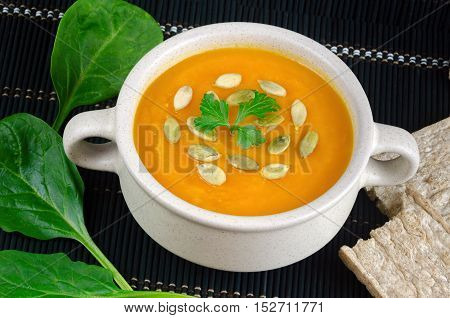 Vitamin Fresh Pumpkin Puree Soup With White Seeds