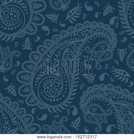 Highly detailed monochrome seamless paisley pattern
