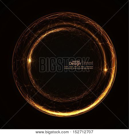 Abstract background with luminous swirling backdrop. Intersection curves. Glowing spiral. The energy flow tunnel.  Lights vector frame. yellow, gold. quantum