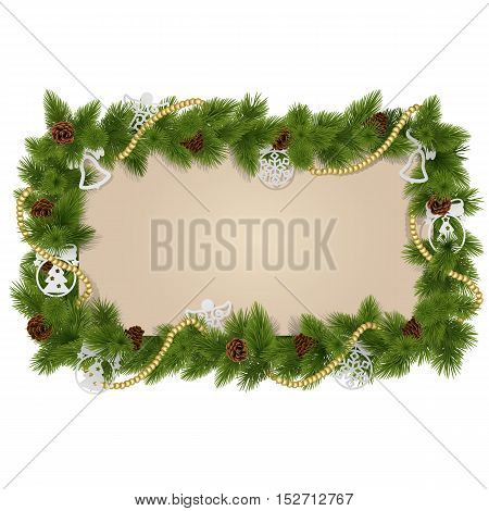 Vector Fir Frame with Decorations isolated on white background
