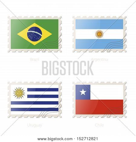 Postage Stamp With The Image Of Brazil, Argentina, Uruguay, Chile Flag.