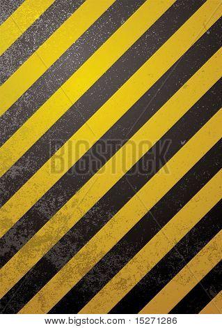 Fondo tradicional de advertencia de negro y amarillo con efecto grunge
